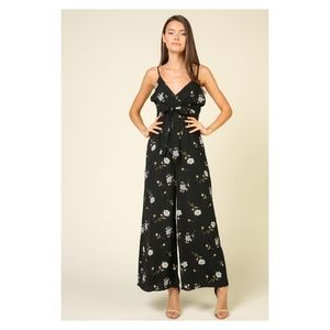 Black Floral Front Tie Wide Leg Casual Jumpsuit